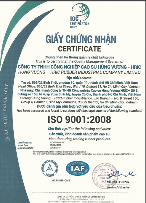 Hung Vuong Rubber Industrial Company ISO Certificate